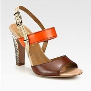 Ellie Tahari leather platform wedges
